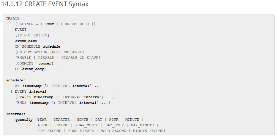 Create MySQL scheduled event syntax