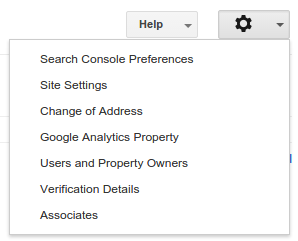 change of address menu google webmaster tools