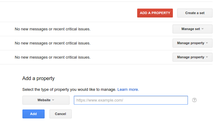 google webmaster tools add property