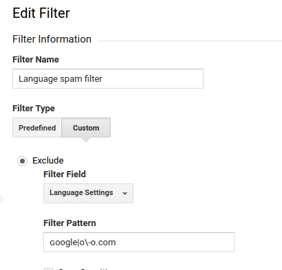 google analytics language spam filter