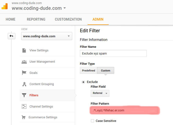 referral spam google analytics filter regex
