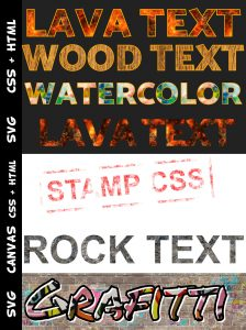 apply texture on text with css html canvas svg