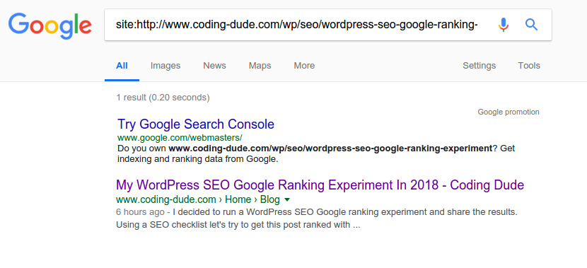 google indexed page