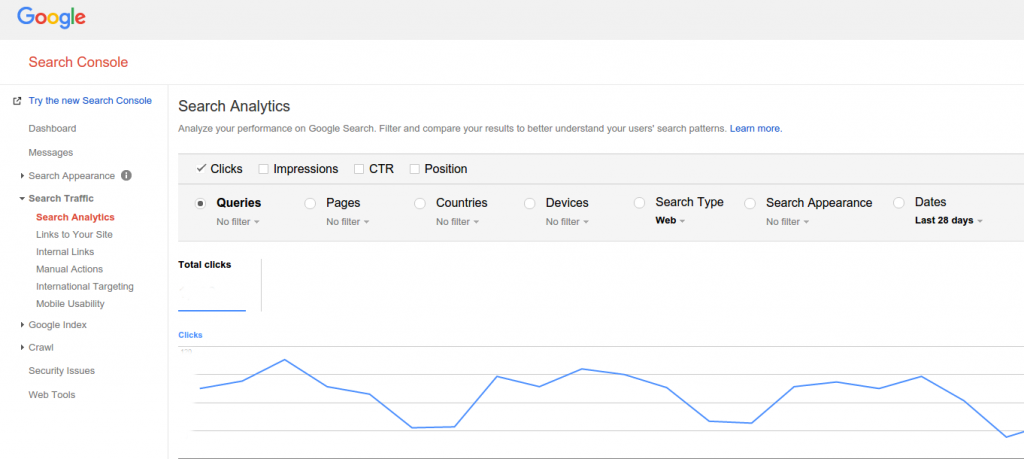 google webmaster tools search analytics