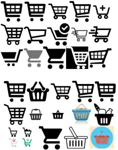 icons shopping cart basket