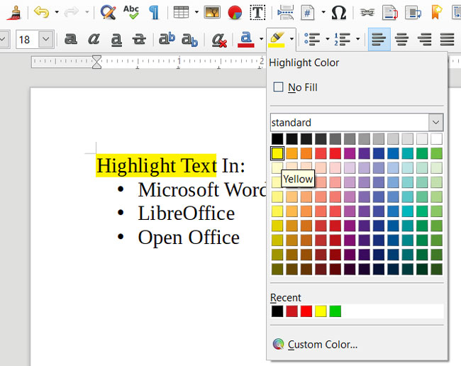 How To Highlight Text In Word, LibreOffice and Open Office
