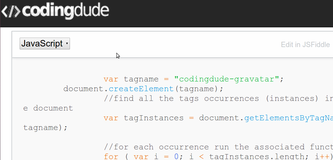 JavaScript code for creating a custom html tag for a gravatar image