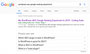 my page in google first position